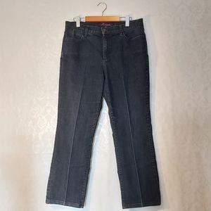 NYDJ Petite Dark Wash High Rise Pleated Jeans